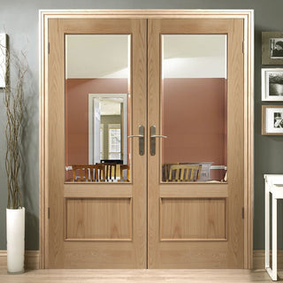 Image: Andria Oak 1 Pane Door Pair - Bevelled Clear Glass