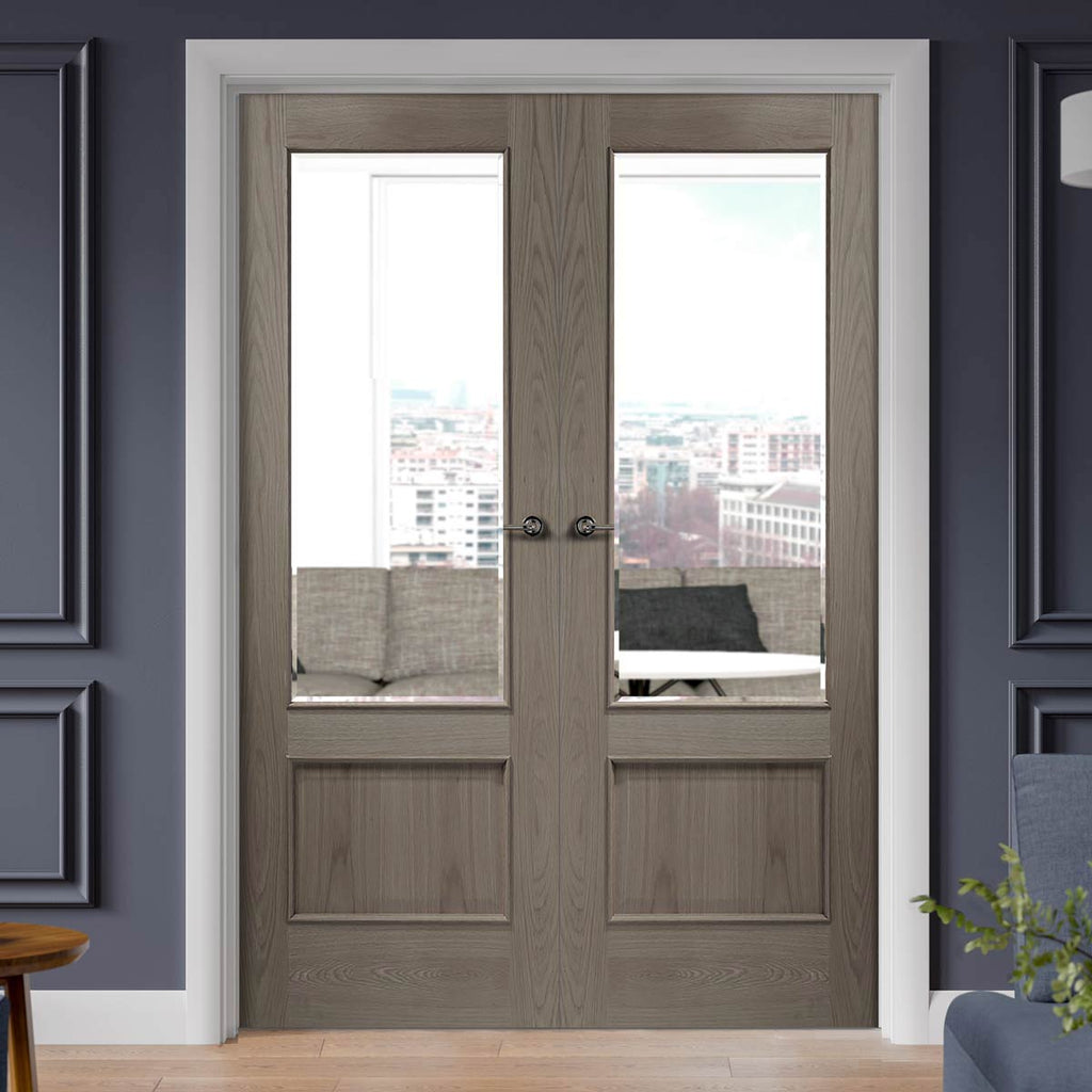 Prefinished Andria Oak 1 Panel Door Pair - Bevelled Clear Glass - Choose Your Colour