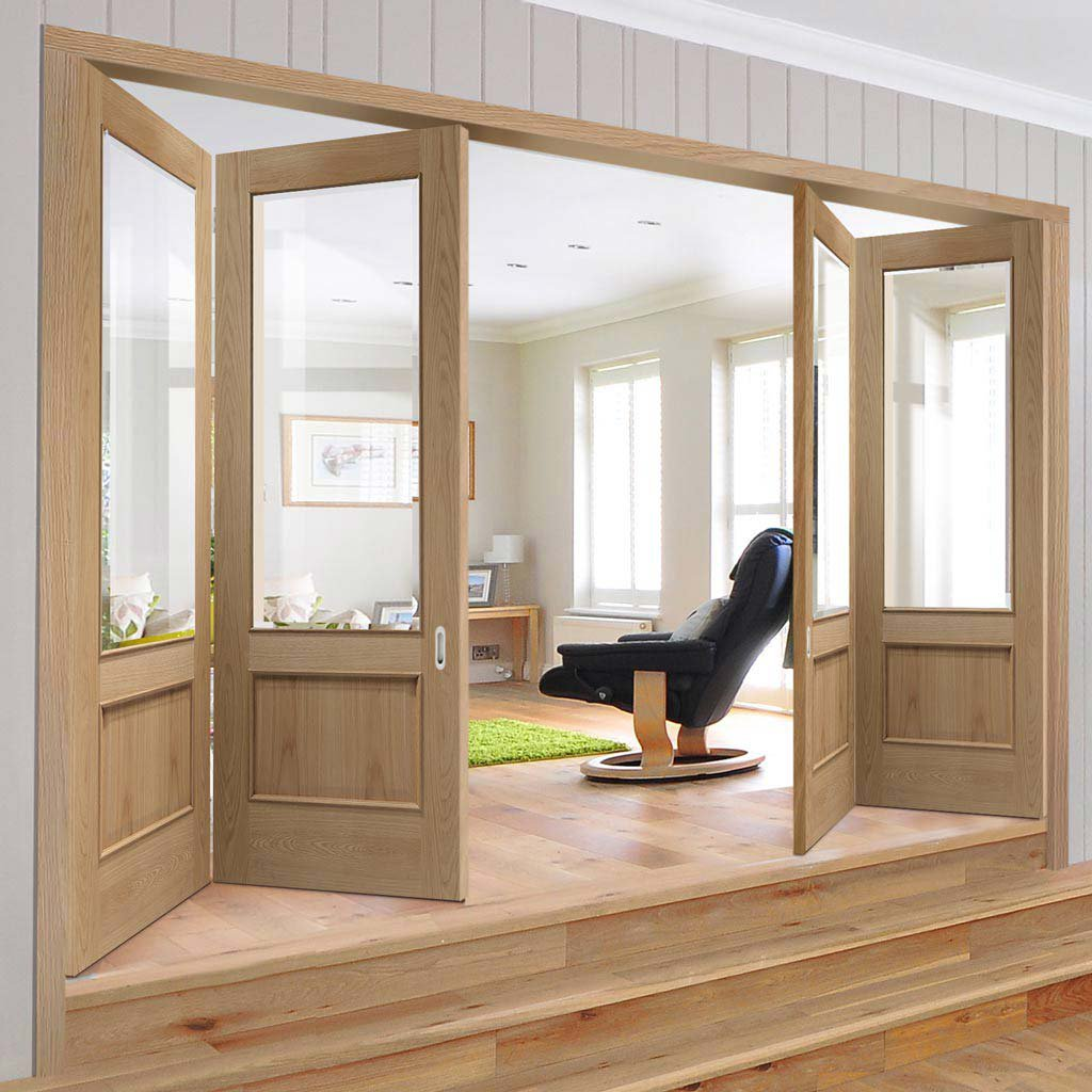 Bespoke Thrufold Andria Oak 1 Pane Glazed Folding 2+2 Door