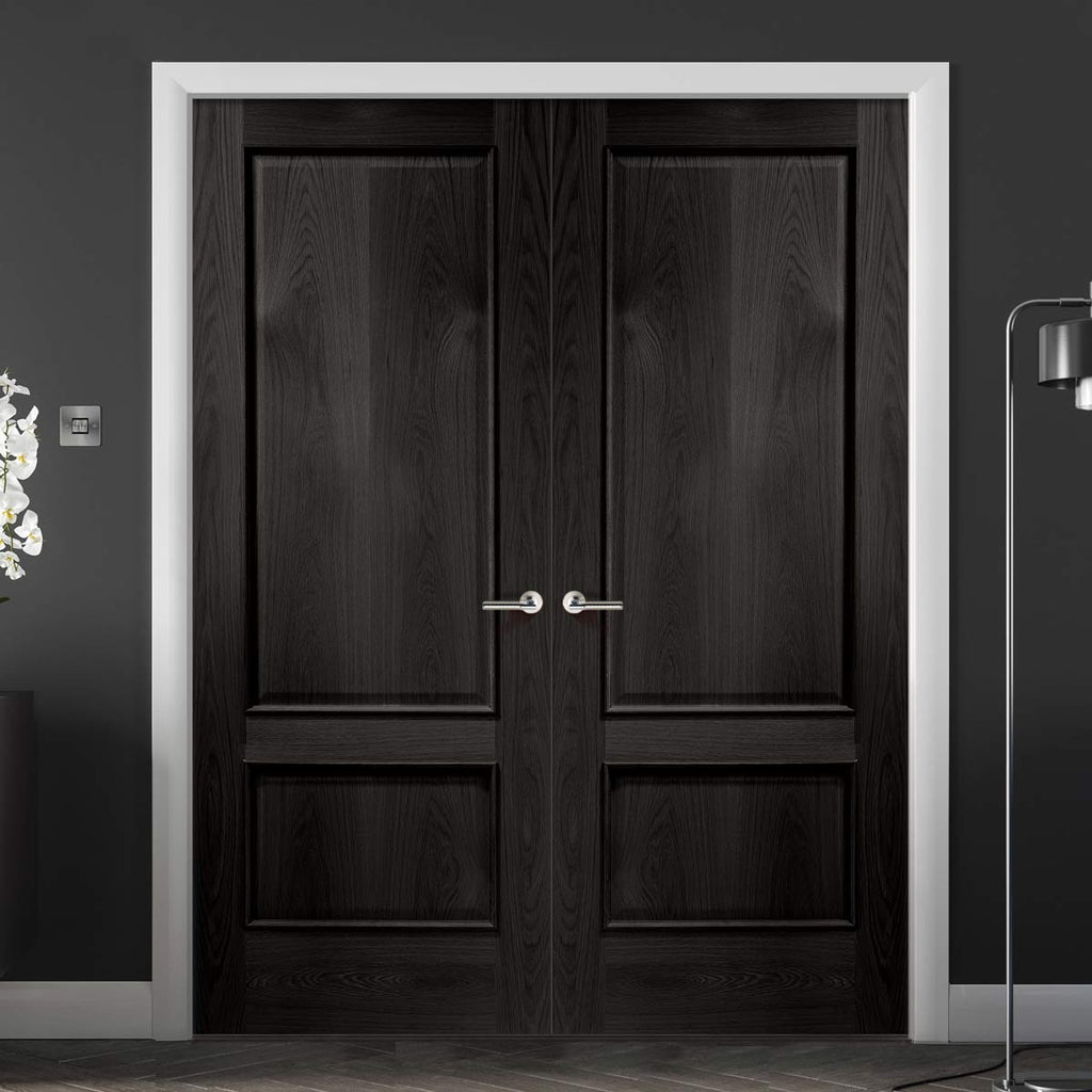 Prefinished Bespoke Andria Oak Door Pair - Raised Mouldings - Choose Your Colour
