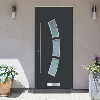 Image: External Spitfire Aluminium S-200 Door - 1361 Stainless Steel - 7 Colour Options