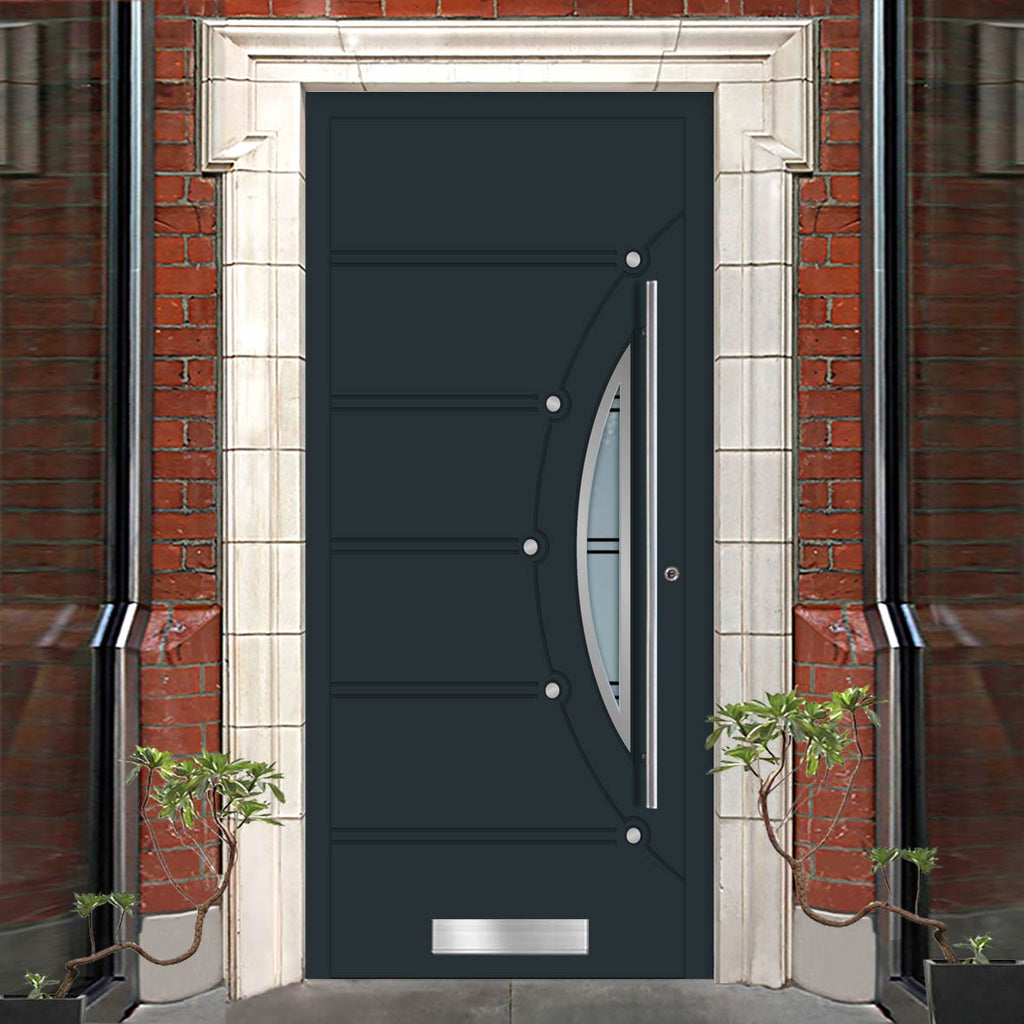External Spitfire Aluminium S-200 Door - 1671 CNC Grooves & Stainless Steel - 7 Colour Options