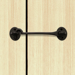 Image: Sale - Cast Cabin Hook And Eyes 300mm Antique Black - ICH150BLK/BP