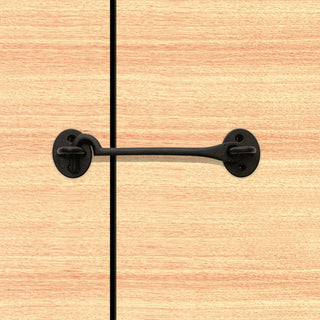 Image: Sale - Cast Cabin Hook And Eyes 150mm Antique Black - ICH150BLK/BP