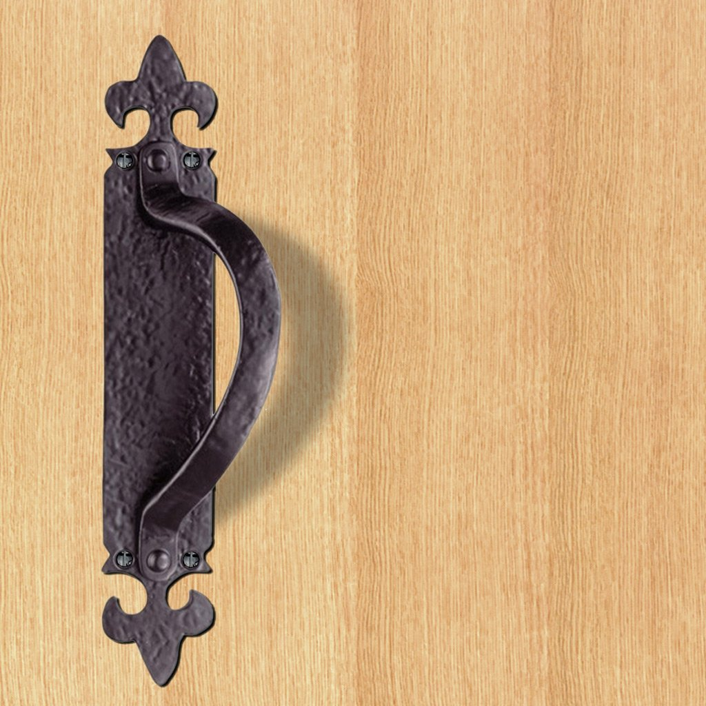 Antique Black Ludlow Left or Right Handed: LF5260 Antique Offset Pull Handle on Backplate - 2 Sizes