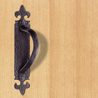 Image: Antique Black Ludlow Left or Right Handed: LF5260 Antique Offset Pull Handle on Backplate - 2 Sizes