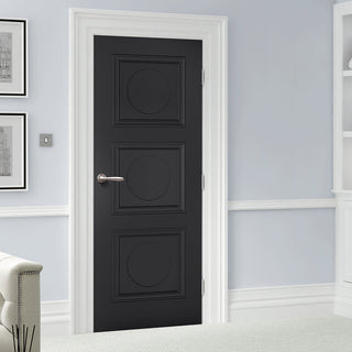 Image: Antwerp 3 Panel Black Primed Door - 1/2 Hour Fire Rated