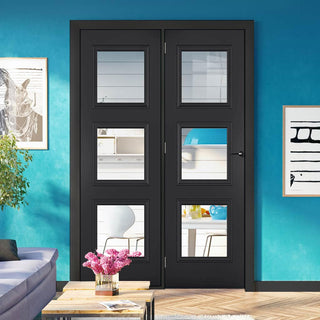 Image: ThruEasi Room Divider - Antwerp 3 Pane Black Primed Clear Glass Unfinished Door with Single Side - 2018mm High - Multiple Widths