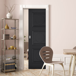 Image: Antwerp 3 Panel Black Primed Single Evokit Pocket Door