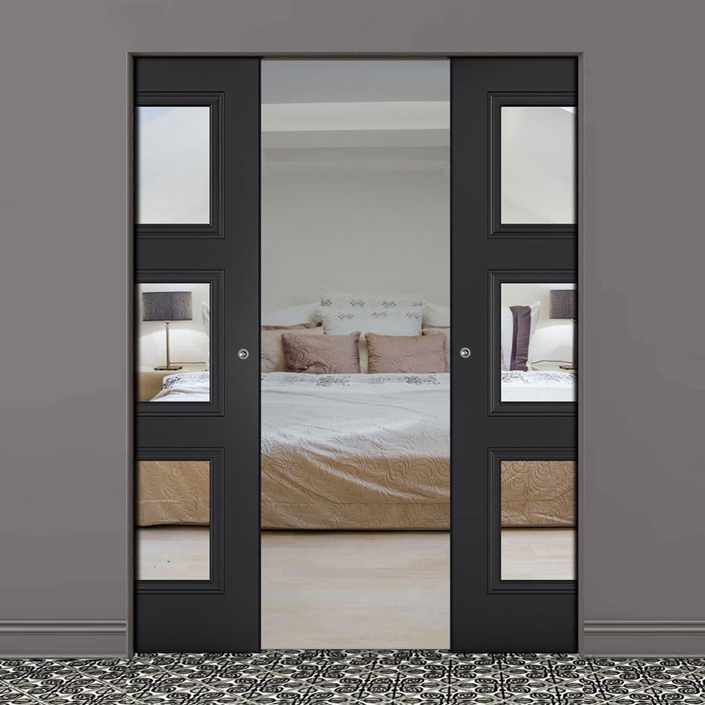 Antwerp 3 Pane Black Primed Absolute Evokit Double Pocket Door - Clear Glass