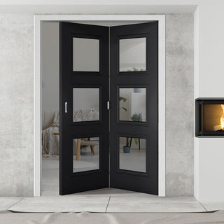 Image: Two Folding Doors & Frame Kit - Antwerp 3 Pane Black Primed 2+0 - Clear Glass
