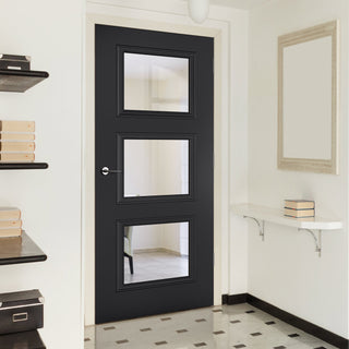 Image: Antwerp 3 Pane Black Primed Door - Clear Glass