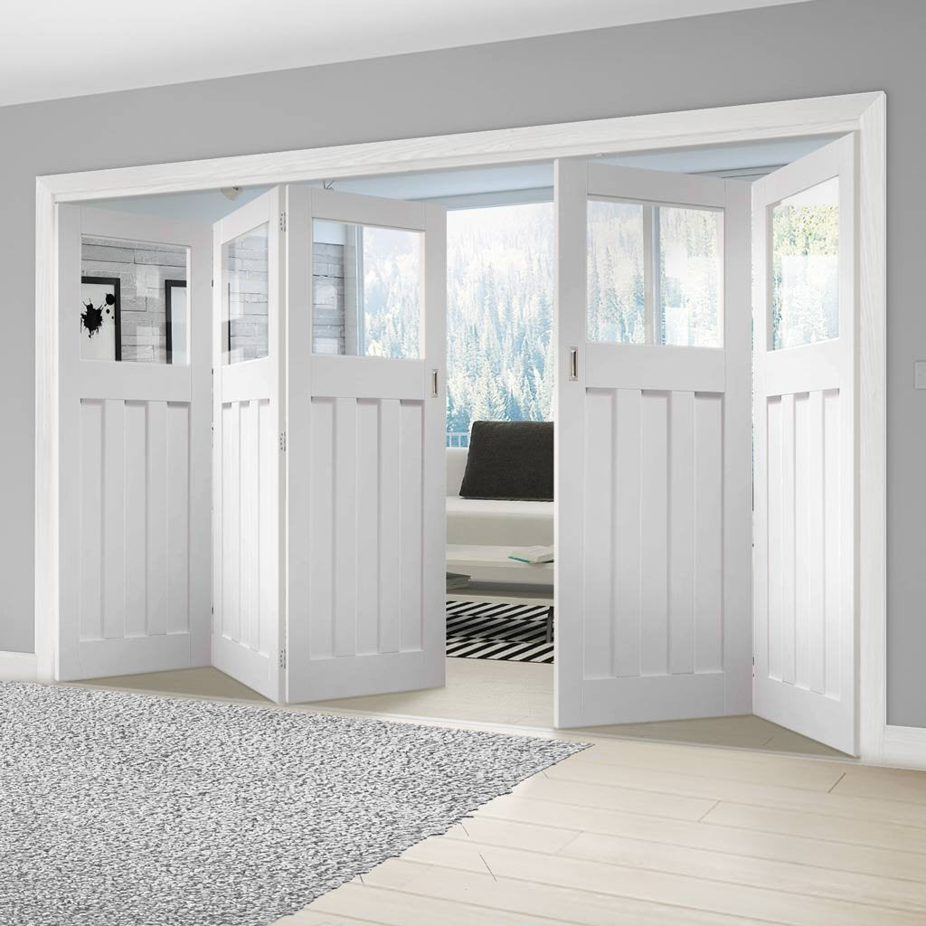 Bespoke Thrufold DX 1930's White Primed Glazed Folding 3+2 Door