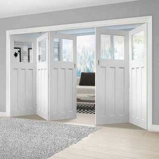 Image: Bespoke Thrufold DX 1930's White Primed Glazed Folding 3+2 Door