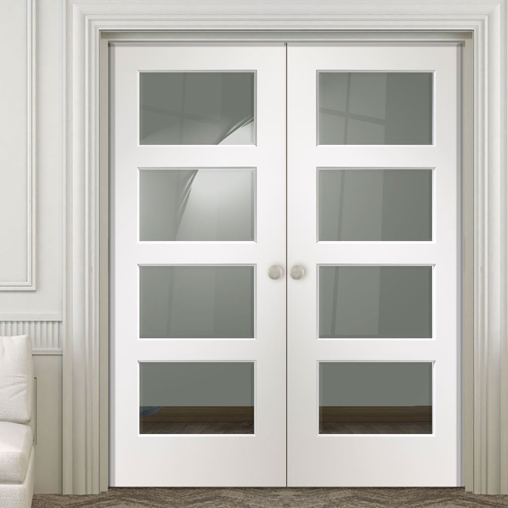 Severo White 4 Pane Door Pair - Clear Bevelled Glass - Prefinished