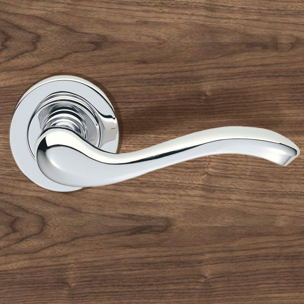 European AQ3 Apollo Lever Latch Handles on Round Rose - 3 Finishes