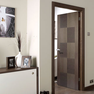 Image: Apollo Chocolate Grey Flush Fire Door - 1/2 Hour Fire Rated - Prefinished