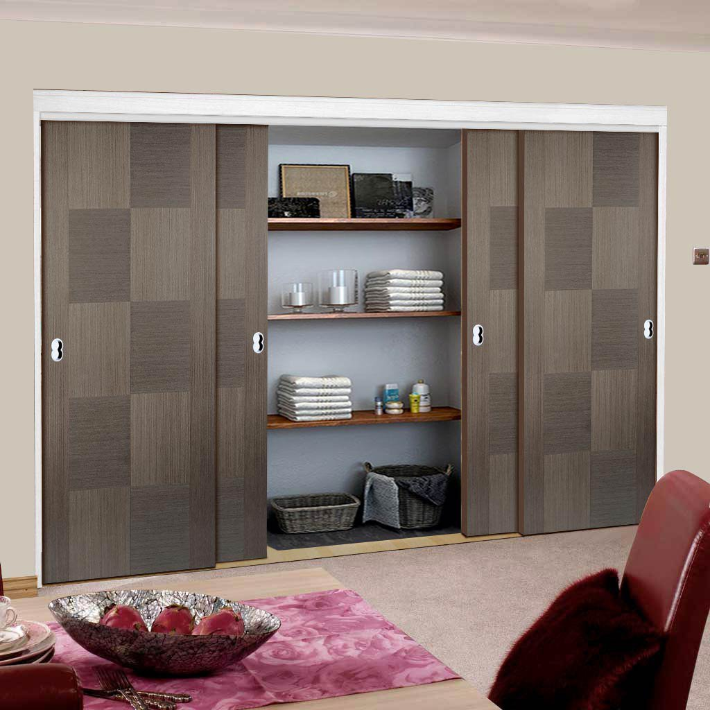Minimalist Wardrobe Door & Frame Kit - Four Apollo Flush Chocolate Grey Doors - Prefinished