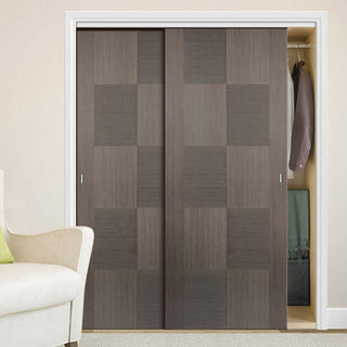 Image: Two Sliding Wardrobe Doors & Frame Kit - Apollo Flush Chocolate Grey Door - Prefinished