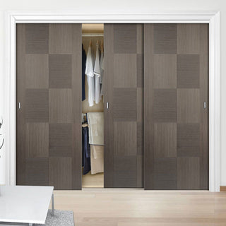 Image: Bespoke Apollo Chocolate Grey Flush Door - 3 Door Wardrobe and Frame Kit - Prefinished