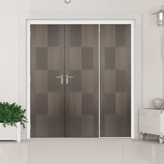 Image: ThruEasi Room Divider - Apollo Flush Chocolate Grey Prefinished Double Doors with Single Side - 2018mm High - Multiple Widths