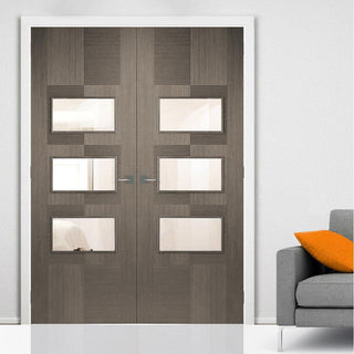 Image: Apollo Chocolate Grey 3 Pane Door Pair - Clear Glass - Prefinished