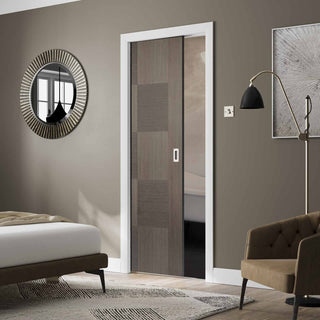 Image: Apollo Chocolate Grey Flush Single Evokit Pocket Door - Prefinished