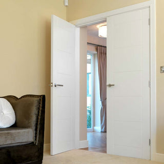 Image: J B Kind Apollo White Primed Flush Door Pair