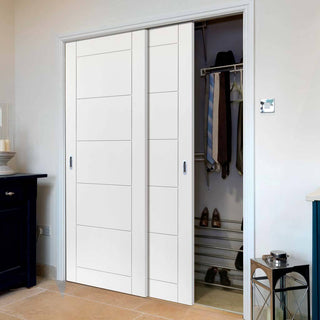 Image: Thruslide Limelight Apollo White Primed Flush 2 Door Wardrobe and Frame Kit