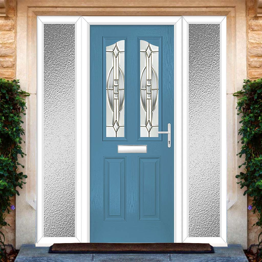 Premium Composite Entrance Door Set with Two Side Screens - Aprilla 2 Reflections Glass - Shown in Pastel Blue