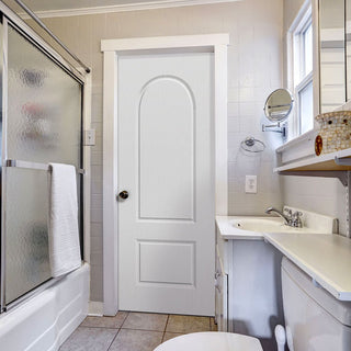 Image: Arched Top Lightly Grained Pvc Two Panel Door