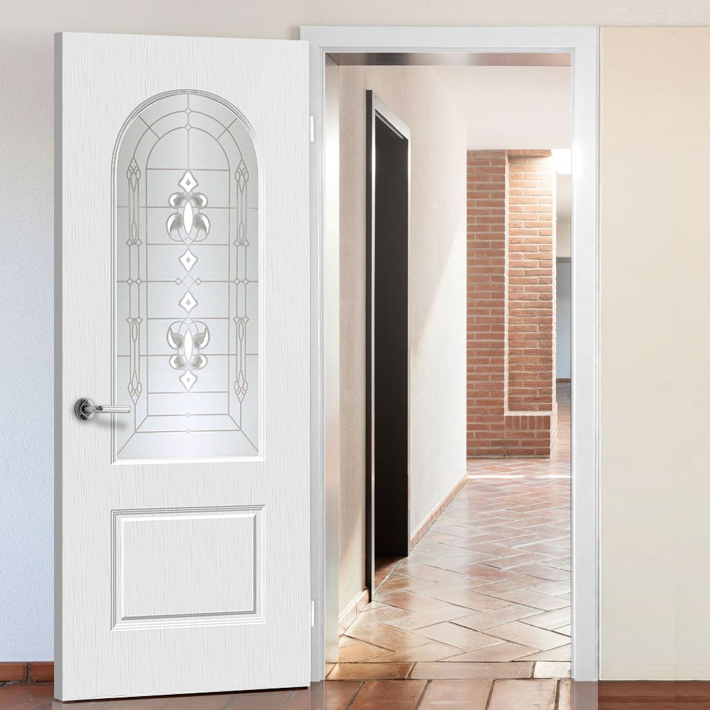 White PVC arched top door with lightly grained faces sandblast regal style toughened glass