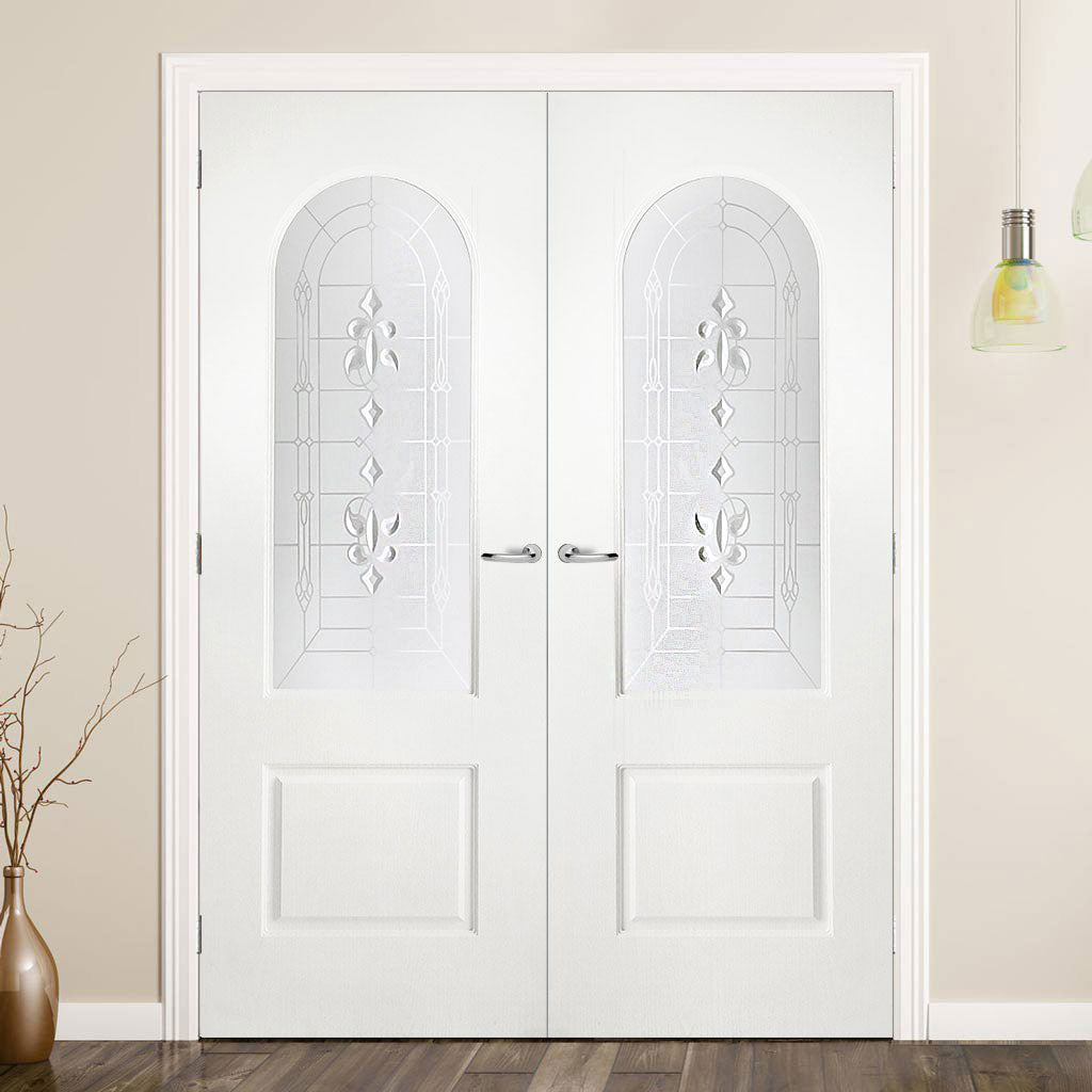 Arched Top Lightly Grained PVC Door Pair - Sandblast Regal Style Glass