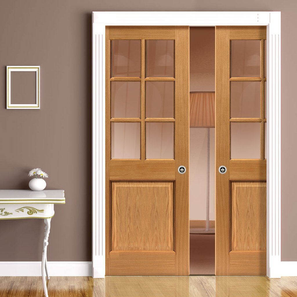 Oak Arden Double Evokit Pocket Doors - Clear Glass