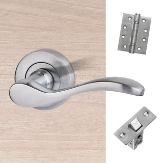 Image: Ariel Door Handle Pack - Satin Chrome