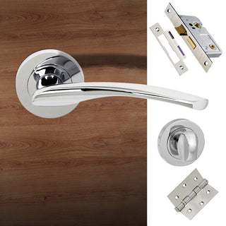 Image: Arizona Status Bathroom Lever on Round Rose - Polished Chrome Handle Pack