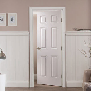 Image: JELD-WEN INTERNAL Arlington 6 Panel Woodgrain Door - Undercoated - Moulded Range