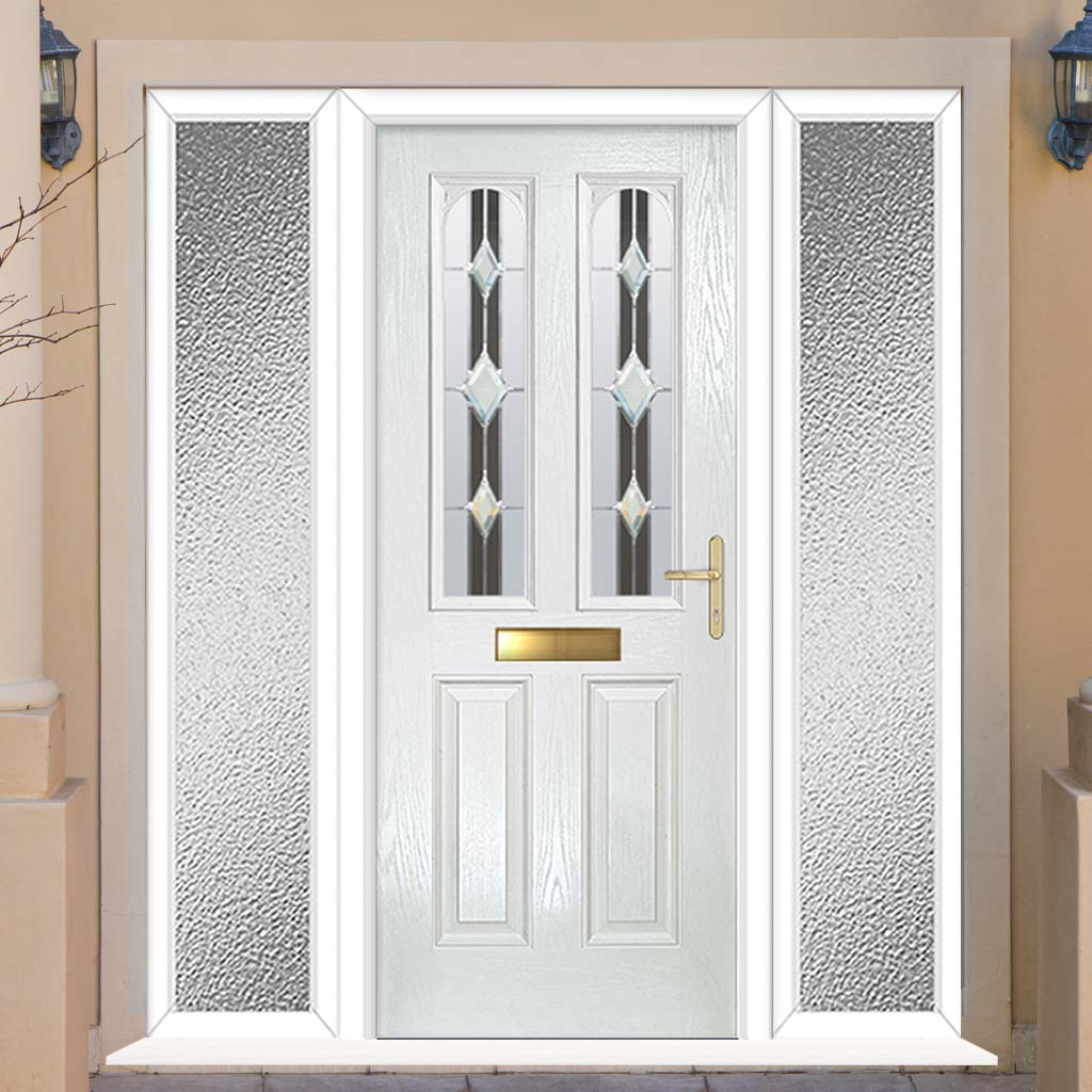 Premium Composite Entrance Door Set with Two Side Screens - Arnage 2 Jet Glass - Shown in White