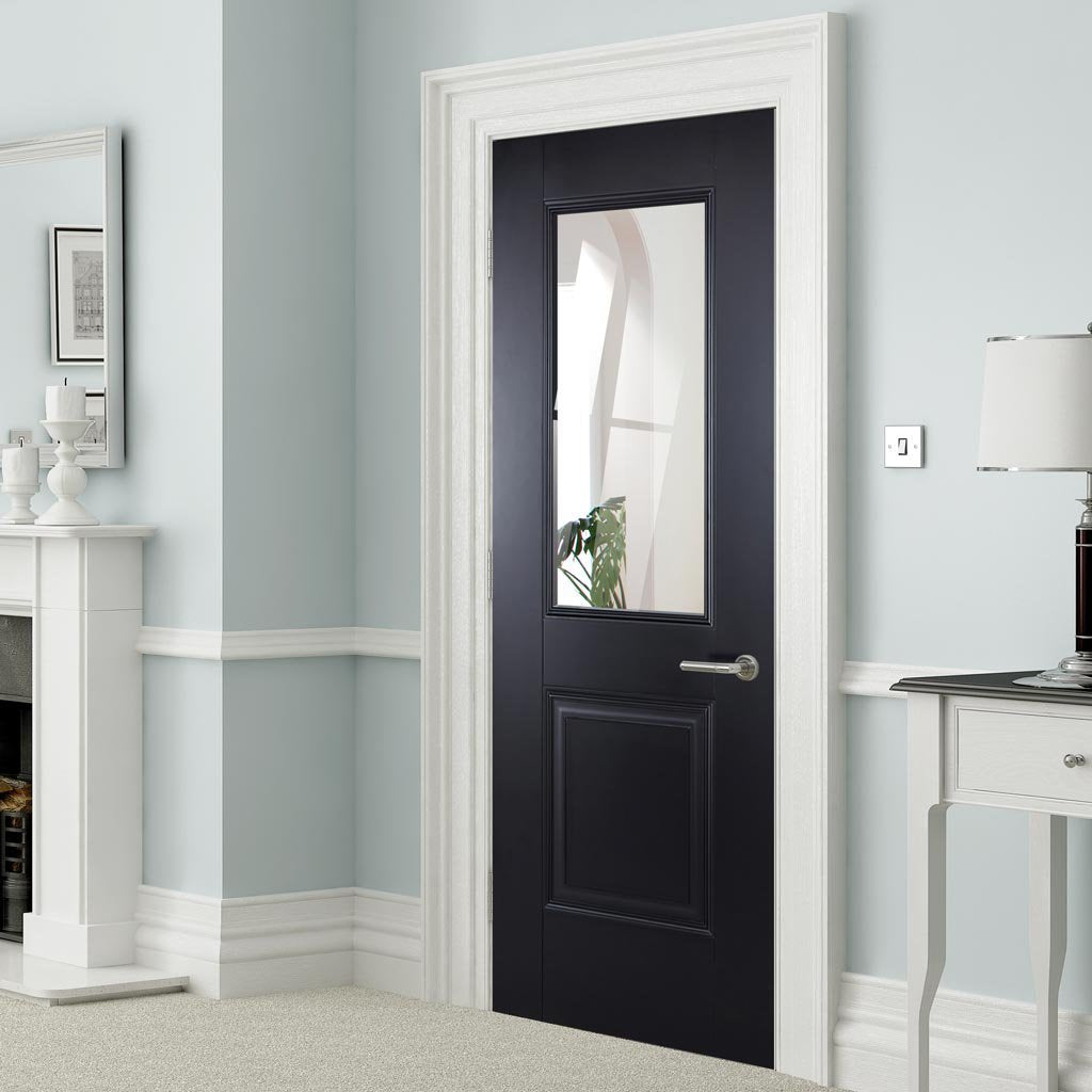 Arnhem Black Primed Internal Door with Clear Safety Glass