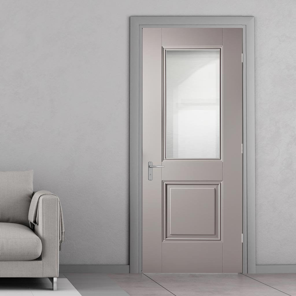 Arnhem Grey Primed Door - Clear Glass