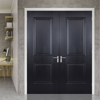 Image: Arnhem 2 Panel Black Primed Internal Door Pair