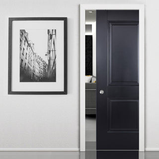 Image: Arnhem 2 Panel Black Primed Single Evokit Pocket Door