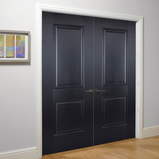 Image: Arnhem 2 Panel Black Primed Fire Door Pair - 1/2 Hour Fire Rated