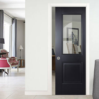 Image: Arnhem Black Primed Single Evokit Pocket Door - Clear Glass