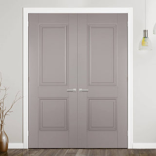 Image: Arnhem 2 Panel Grey Primed Door Pair