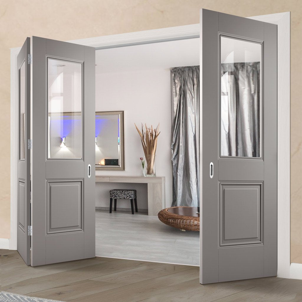 Three Folding Doors & Frame Kit - Arnhem Grey Primed 2+1 - Clear Glass - Unfinished