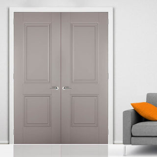 Image: LPD Joinery Arnhem 2 Panel Grey Primed Fire Door Pair - 1/2 Hour Fire Rated
