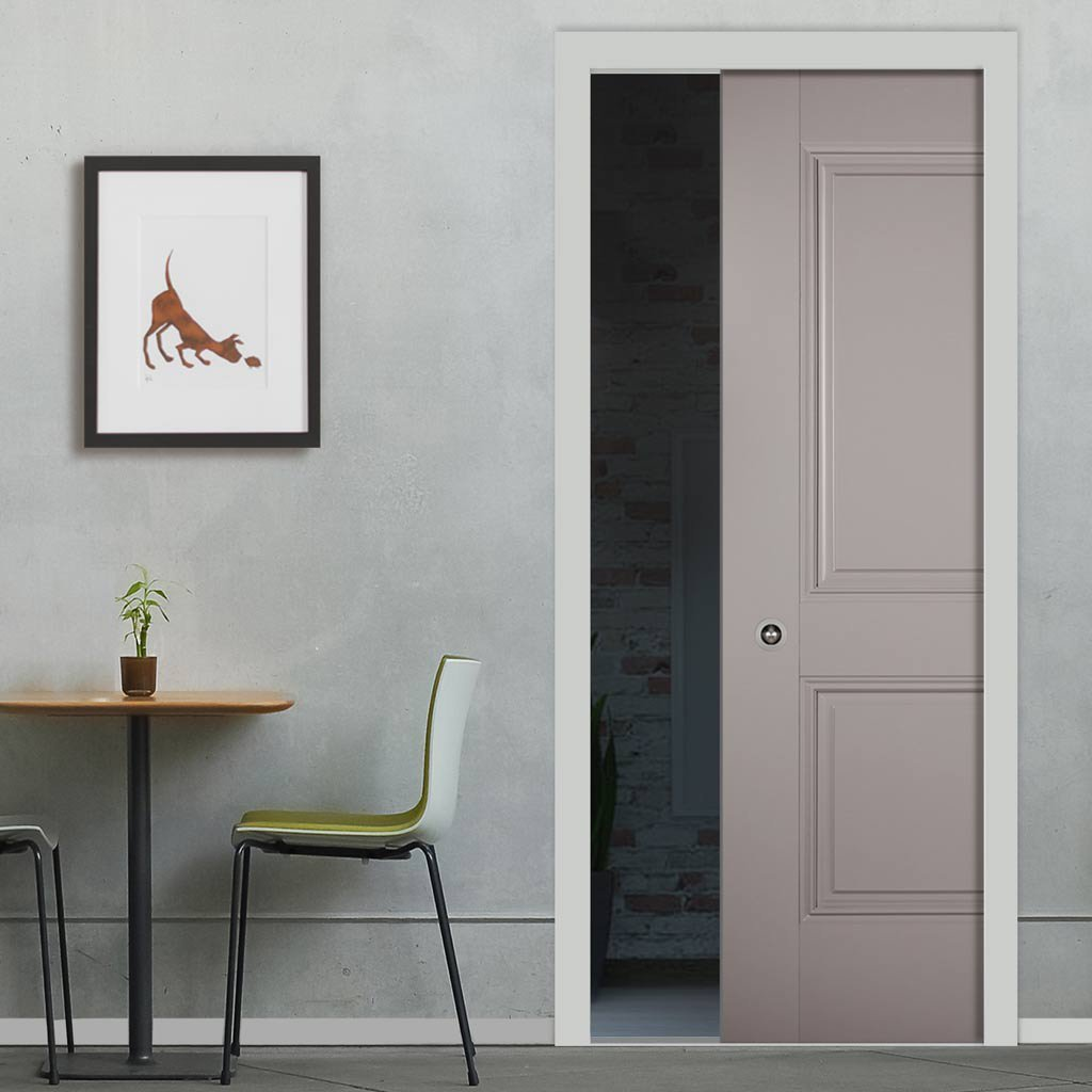 Arnhem 2 Panel Grey Primed Single Evokit Pocket Door