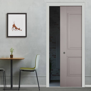 Image: Arnhem 2 Panel Grey Primed Single Evokit Pocket Door