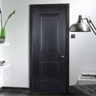 Image: Arnhem 2 Panel Black Primed Fire Door - 1/2 Hour Fire Rated